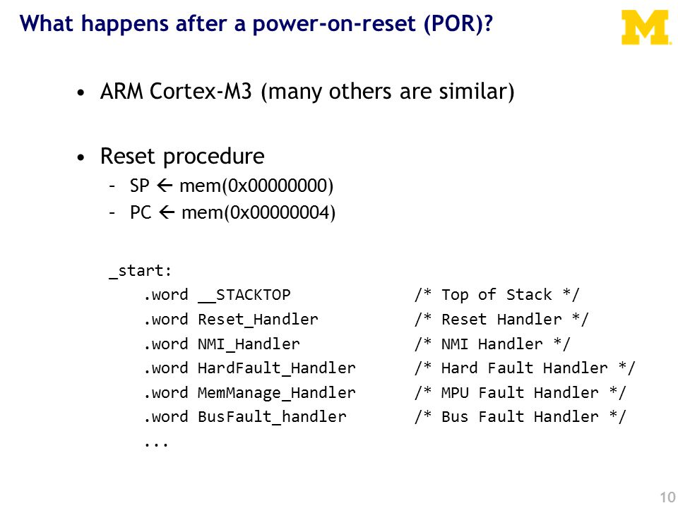 What happens after a power-on-reset (POR).