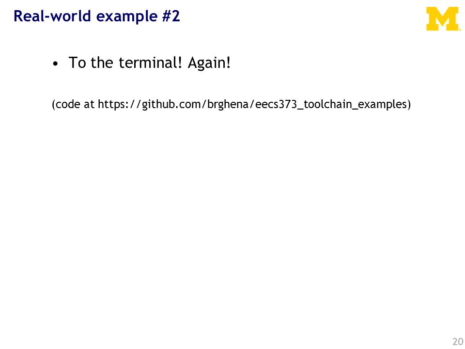 Real-world example #2 To the terminal. Again.