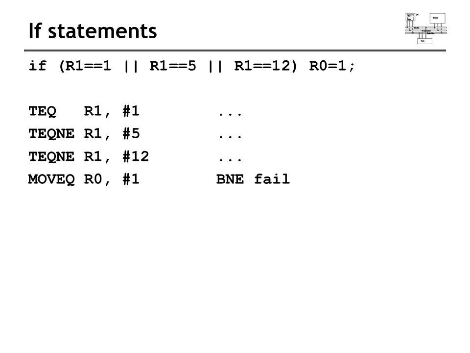 If statements if (R1==1 || R1==5 || R1==12) R0=1; TEQ R1, #1...