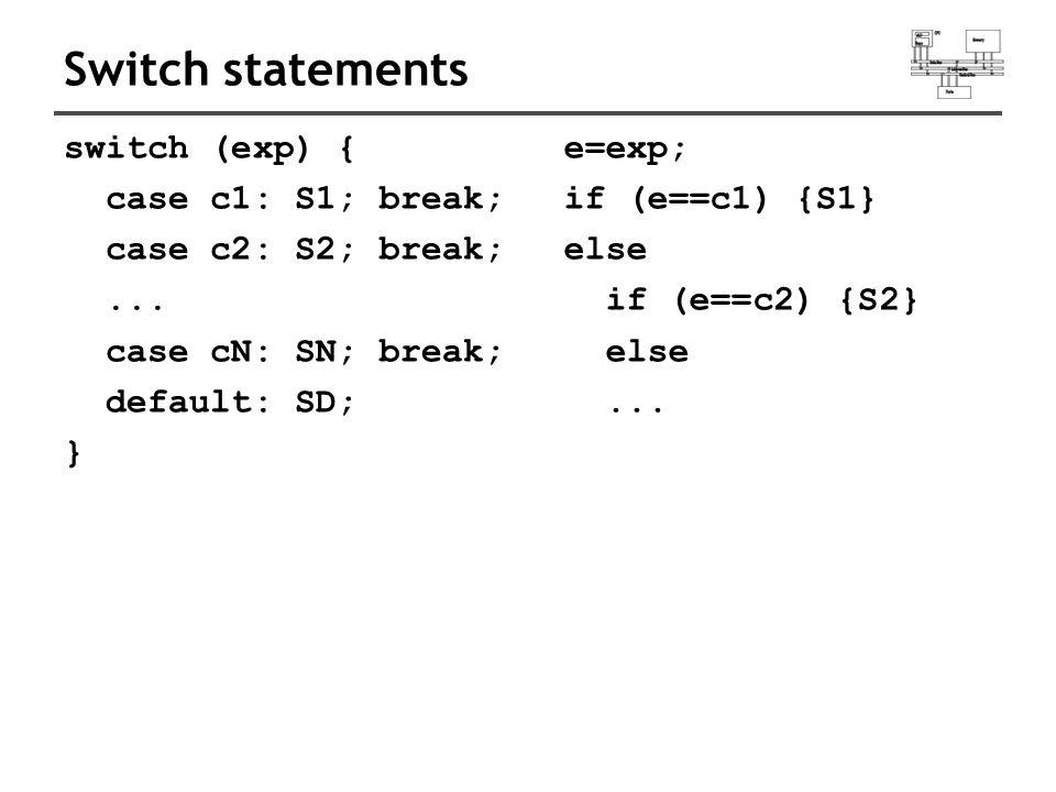 Switch statements switch (exp) { case c1: S1; break; case c2: S2; break;...