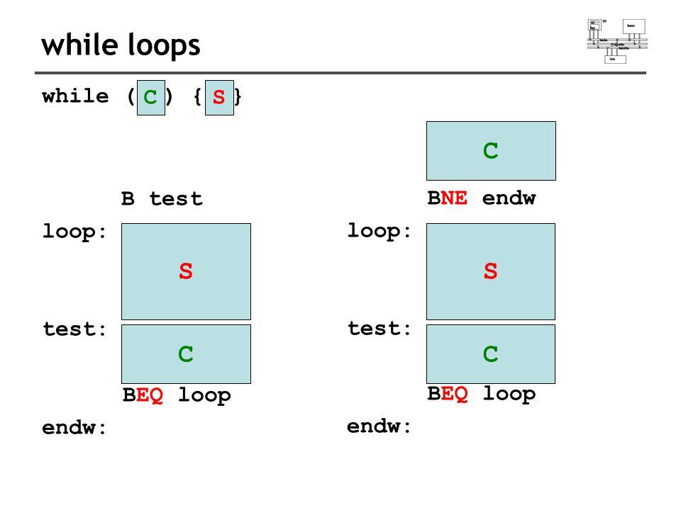 while loops while ( ) { } B test loop: test: BEQ loop endw: C S CS BNE endw loop: test: BEQ loop endw: C S C