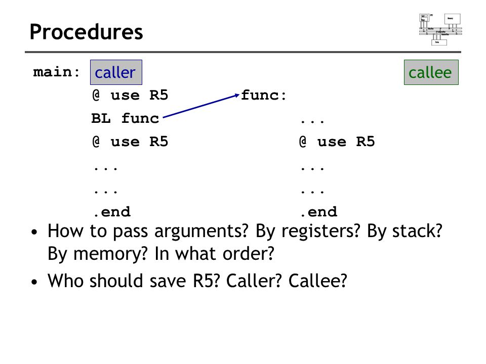 Procedures How to pass arguments. By registers. By stack.