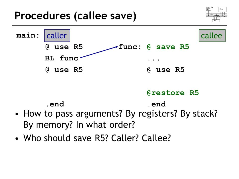 Procedures (callee save) How to pass arguments. By registers.