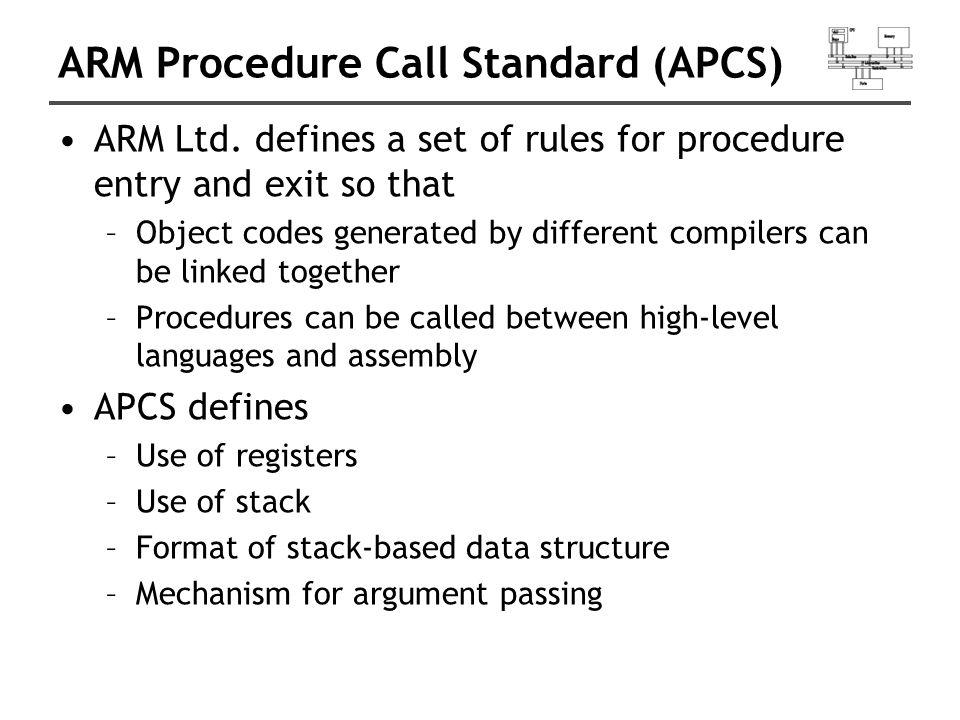 ARM Procedure Call Standard (APCS) ARM Ltd.