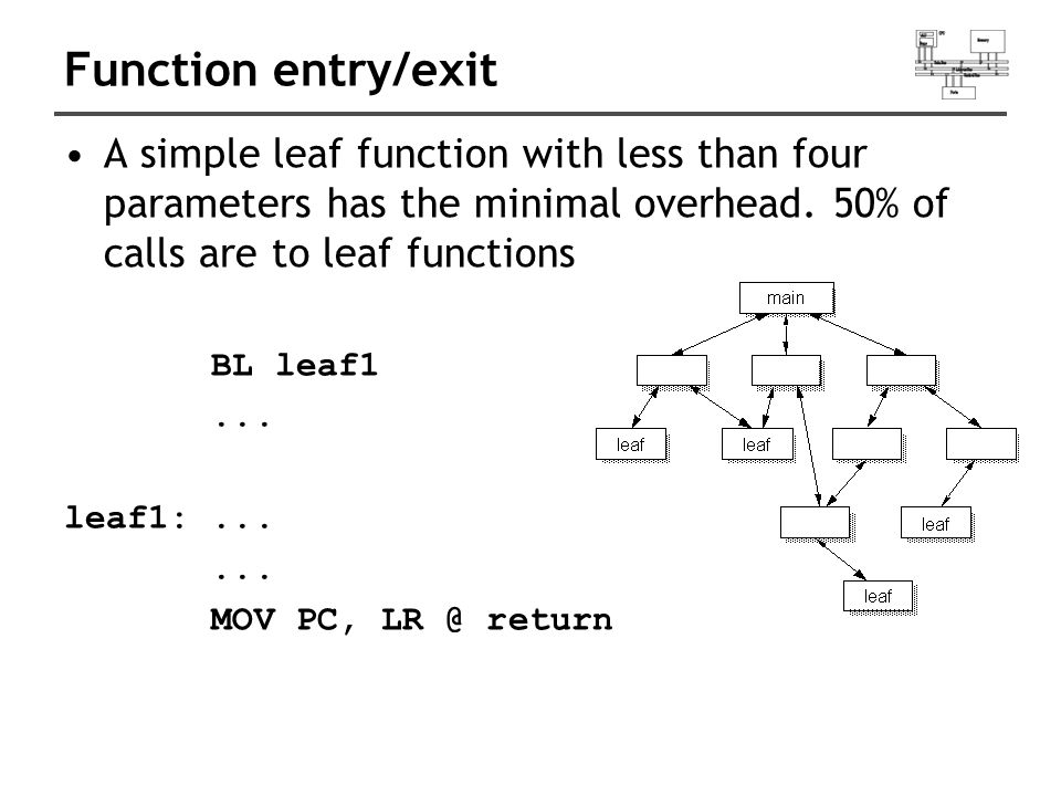 Function entry/exit A simple leaf function with less than four parameters has the minimal overhead.