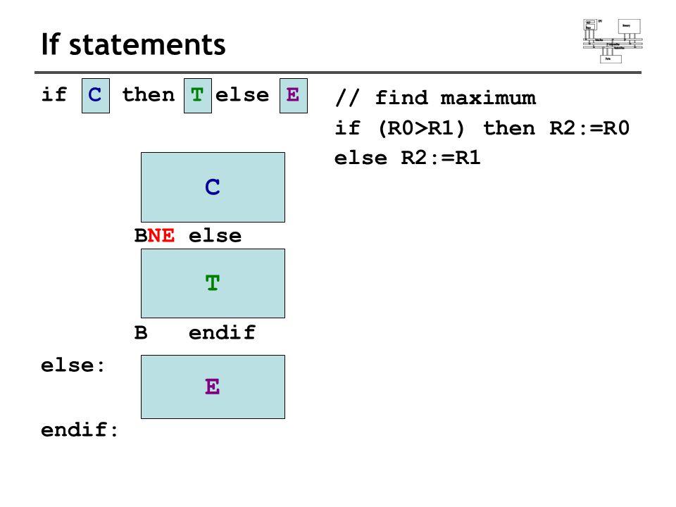 If statements if then else BNE else B endif else: endif: CTE C T E // find maximum if (R0>R1) then R2:=R0 else R2:=R1