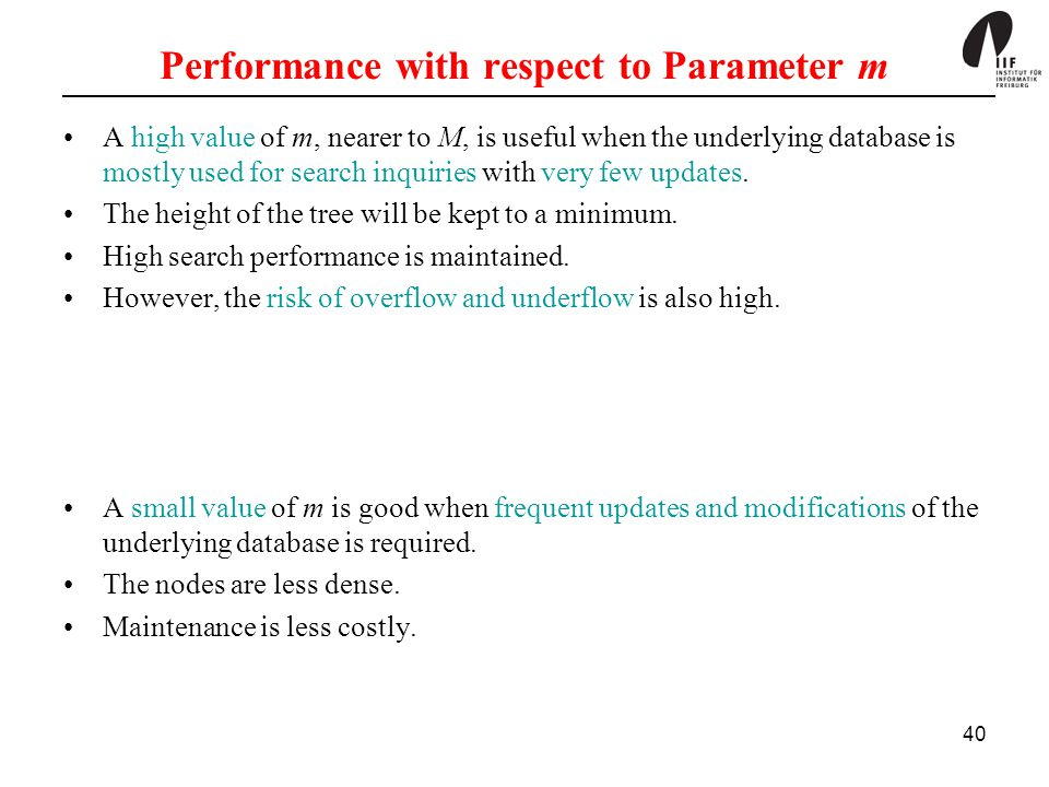 40 Performance with respect to Parameter m A high value of m, nearer to M, is useful when the underlying database is mostly used for search inquiries