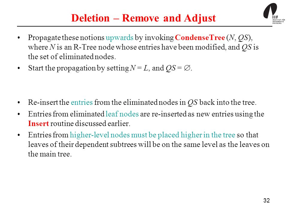 32 Deletion – Remove and Adjust Propagate these notions upwards by invoking CondenseTree (N, QS), where N is an R-Tree node whose entries have been mo