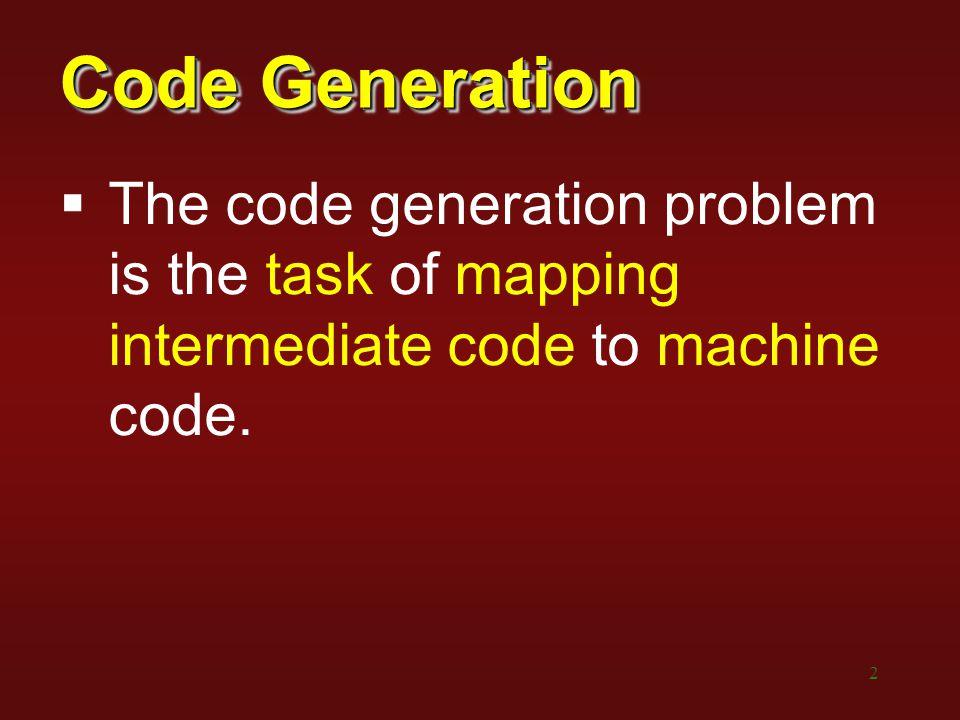 3 Code Generation Requirements:  Correctness  Efficiency
