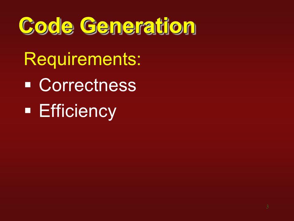 14 Simple Code Generation Intermediatebecomes… a = bMOV b,a a = b[c]MOV addr(b),R0 ADD c, R0 MOV *R0,a