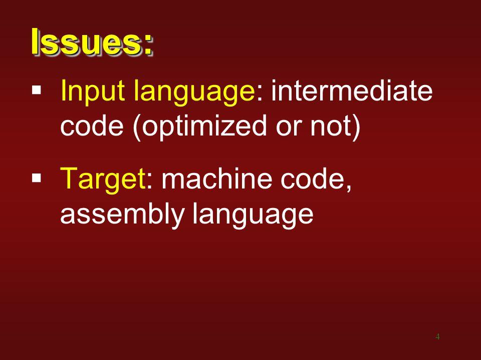 15 Simple Code Generation Intermediatebecomes… a = b + cMOV b,a ADD c,a a[b] = cMOV addr(a),R0 ADD b,R0 MOV c,*R0