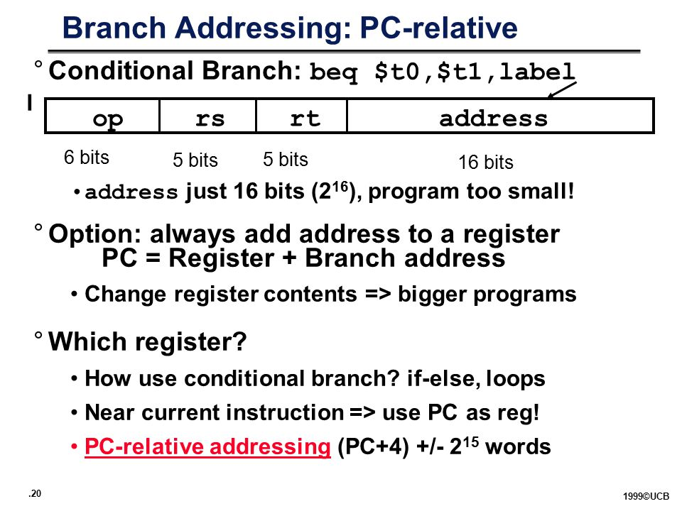 .20 1999©UCB Branch Addressing: PC-relative °Conditional Branch: beq $t0,$t1,label address just 16 bits (2 16 ), program too small.