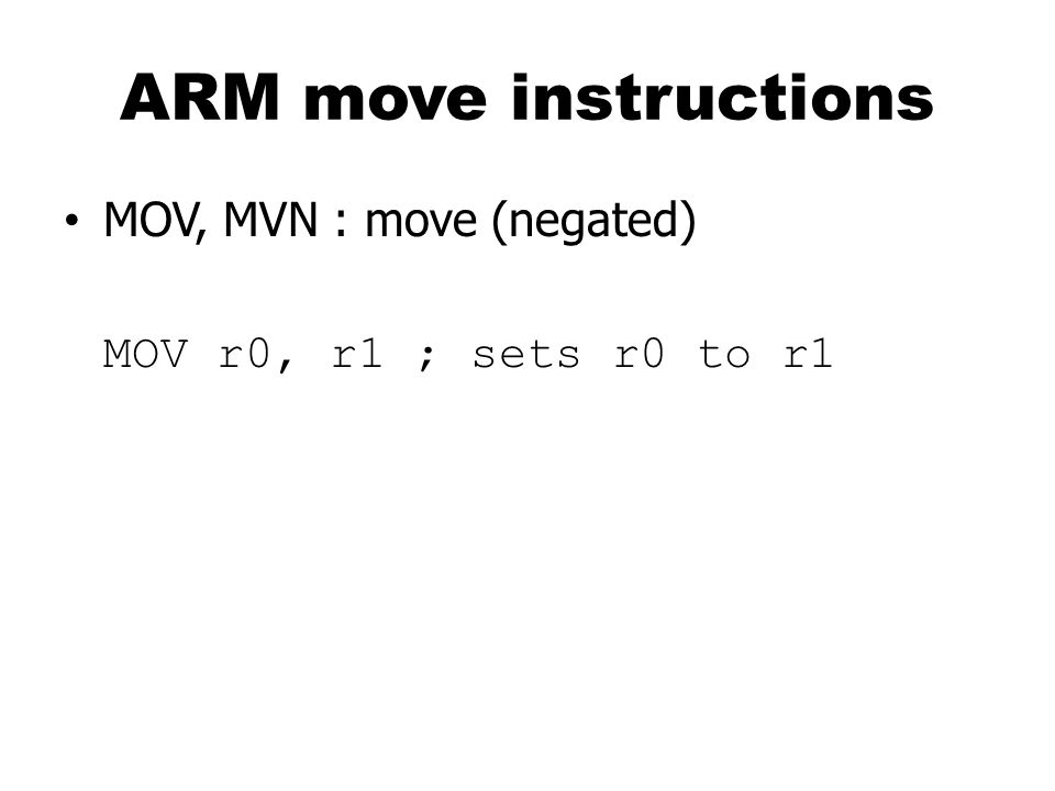 ARM ADR pseudo-op ADR and ADRL pseudo-op generate instruction required to calculate address ADRL for long-range ADR r1, FOO; get the addr for FOO LDR