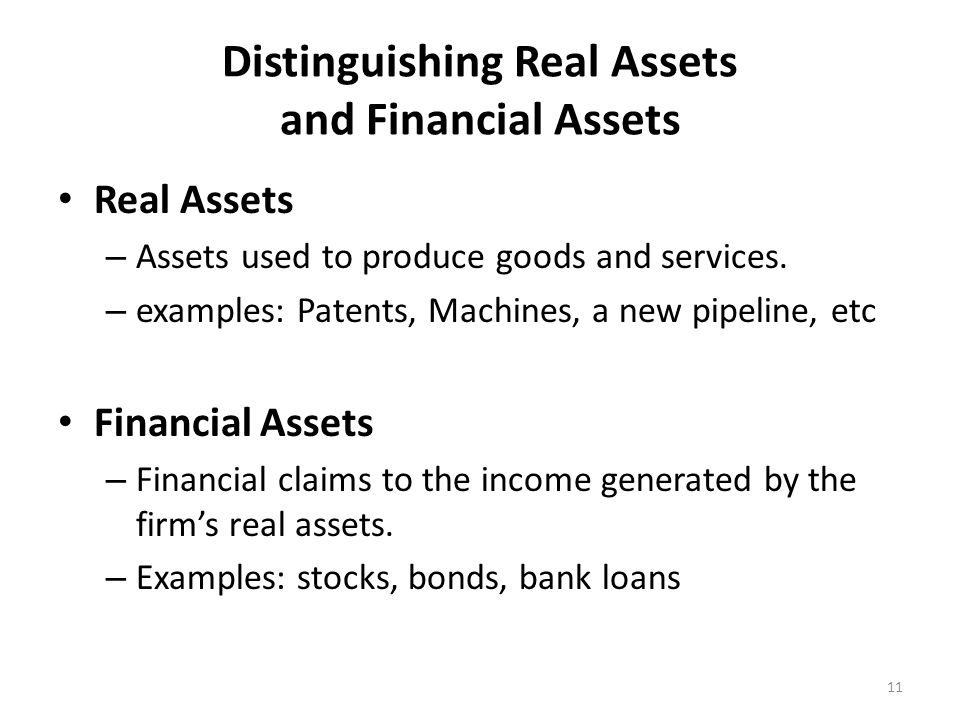 Distinguishing Real Assets and Financial Assets Real Assets – Assets used to produce goods and services.
