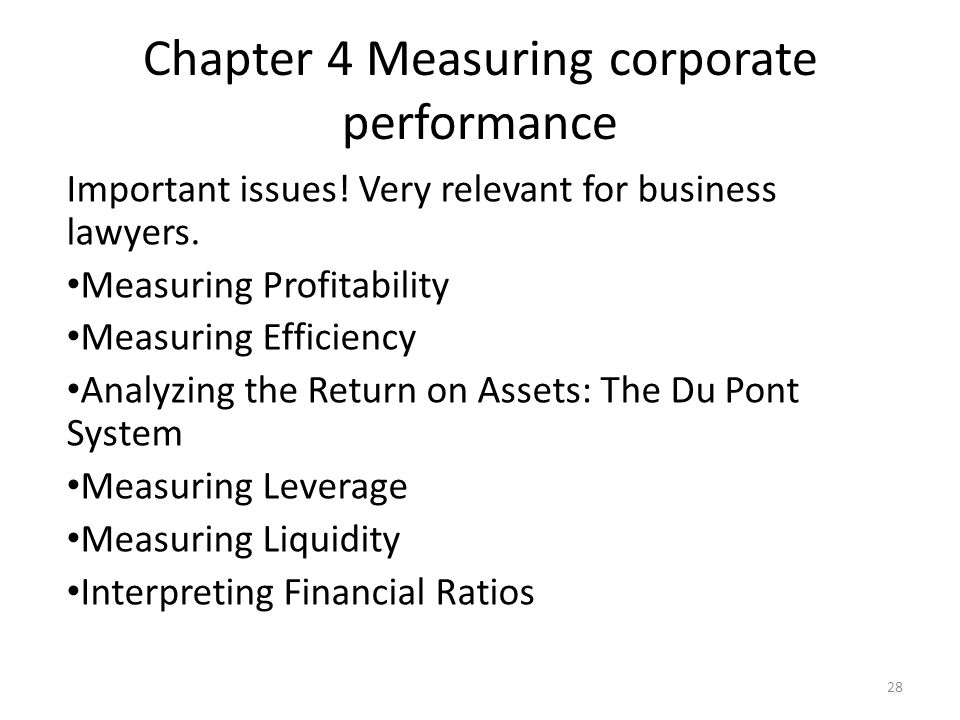 Chapter 4 Measuring corporate performance Important issues.