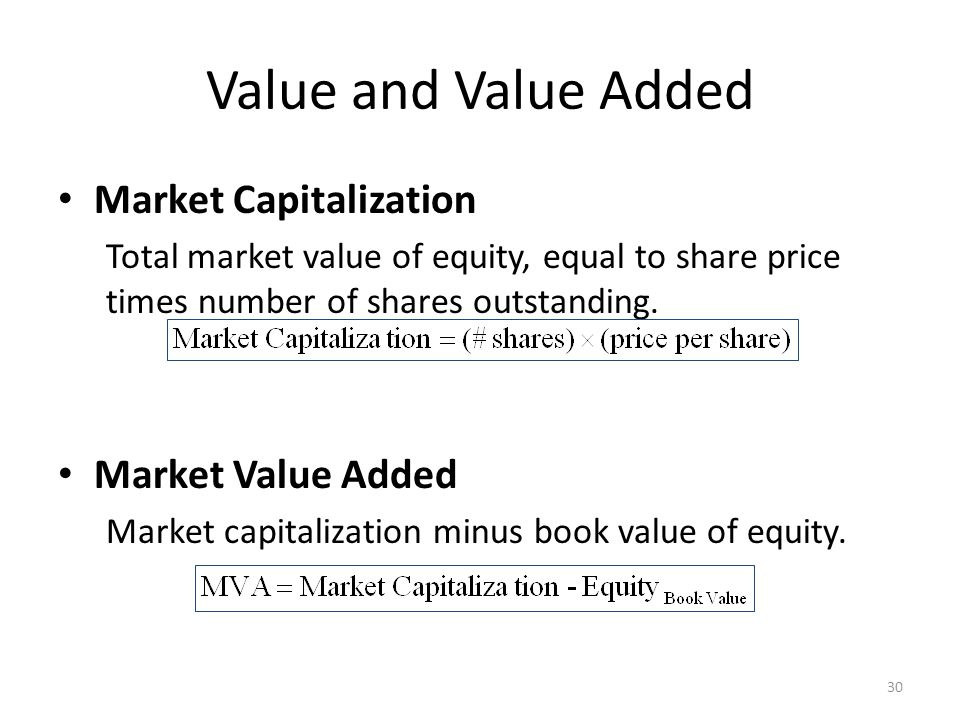 Value and Value Added Market Capitalization Total market value of equity, equal to share price times number of shares outstanding.