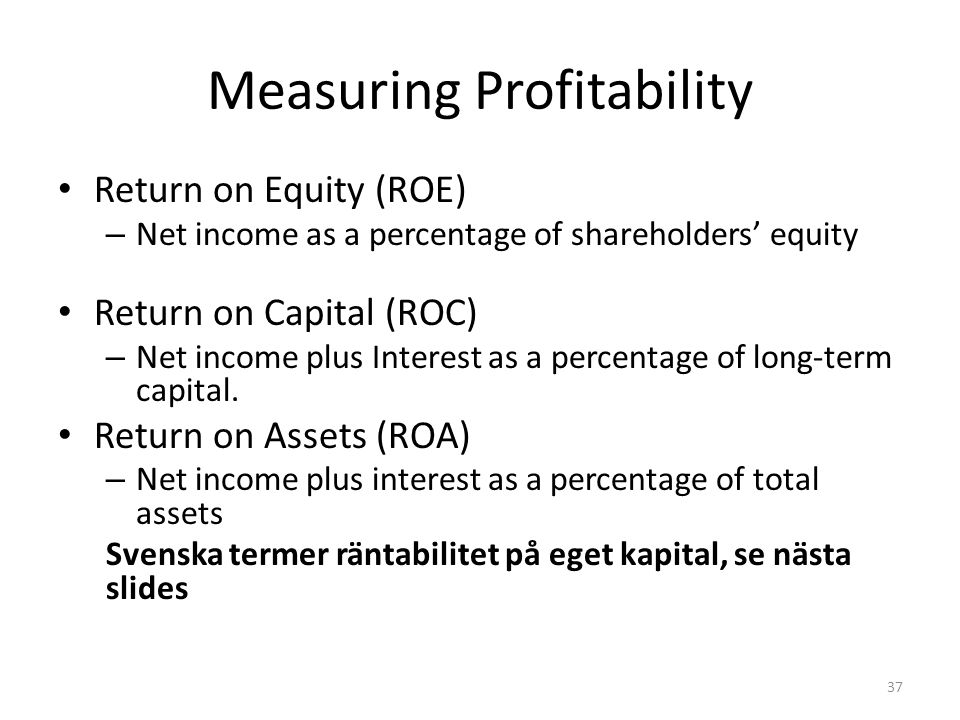 Measuring Profitability Return on Equity (ROE) – Net income as a percentage of shareholders' equity Return on Capital (ROC) – Net income plus Interest as a percentage of long-term capital.