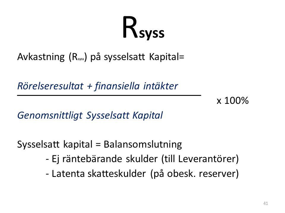 R syss Avkastning (R syss ) på sysselsatt Kapital= Rörelseresultat + finansiella intäkter x 100% Genomsnittligt Sysselsatt Kapital Sysselsatt kapital = Balansomslutning - Ej räntebärande skulder (till Leverantörer) - Latenta skatteskulder (på obesk.