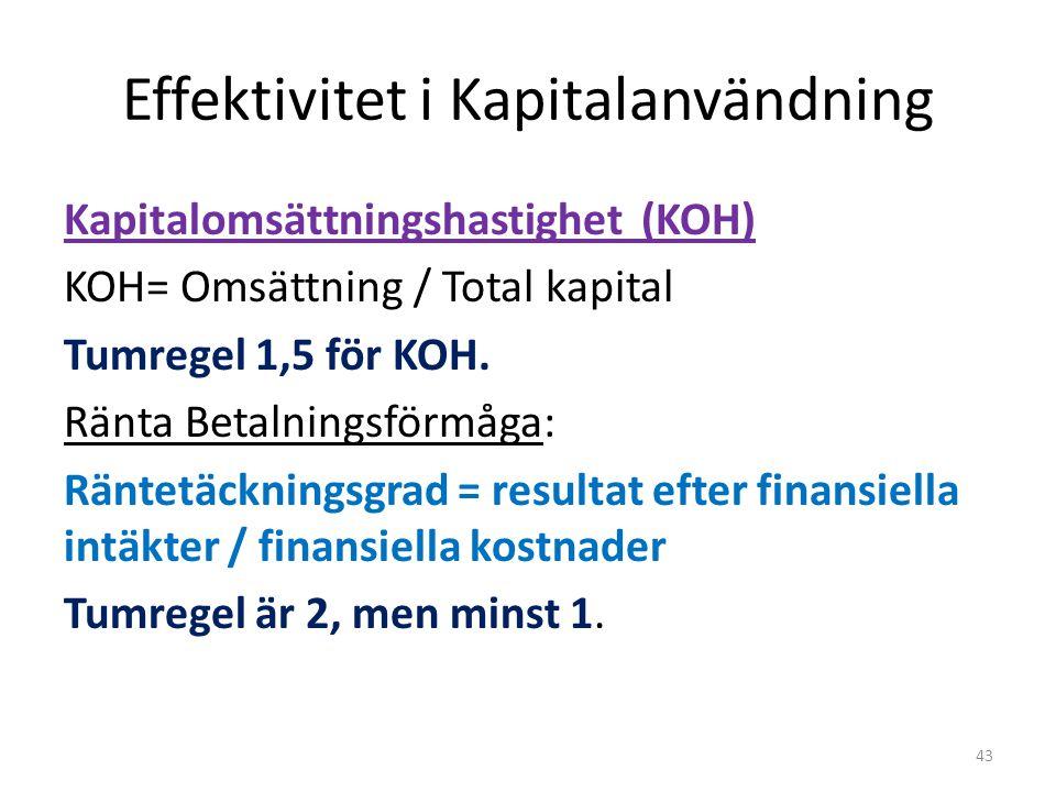 Effektivitet i Kapitalanvändning Kapitalomsättningshastighet (KOH) KOH= Omsättning / Total kapital Tumregel 1,5 för KOH.