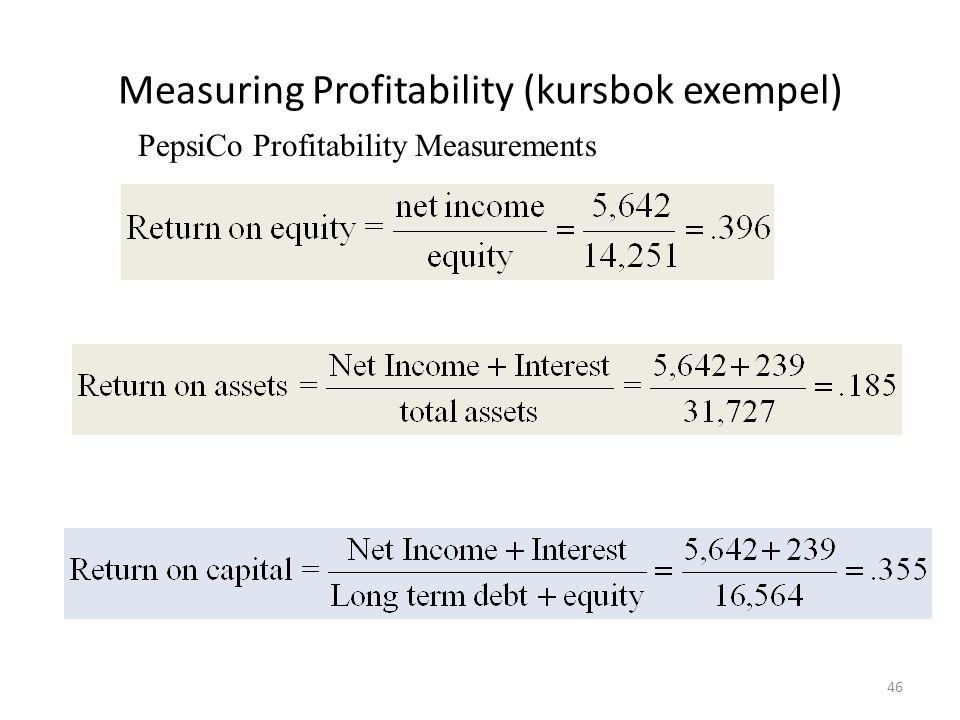 Measuring Profitability (kursbok exempel) PepsiCo Profitability Measurements 46