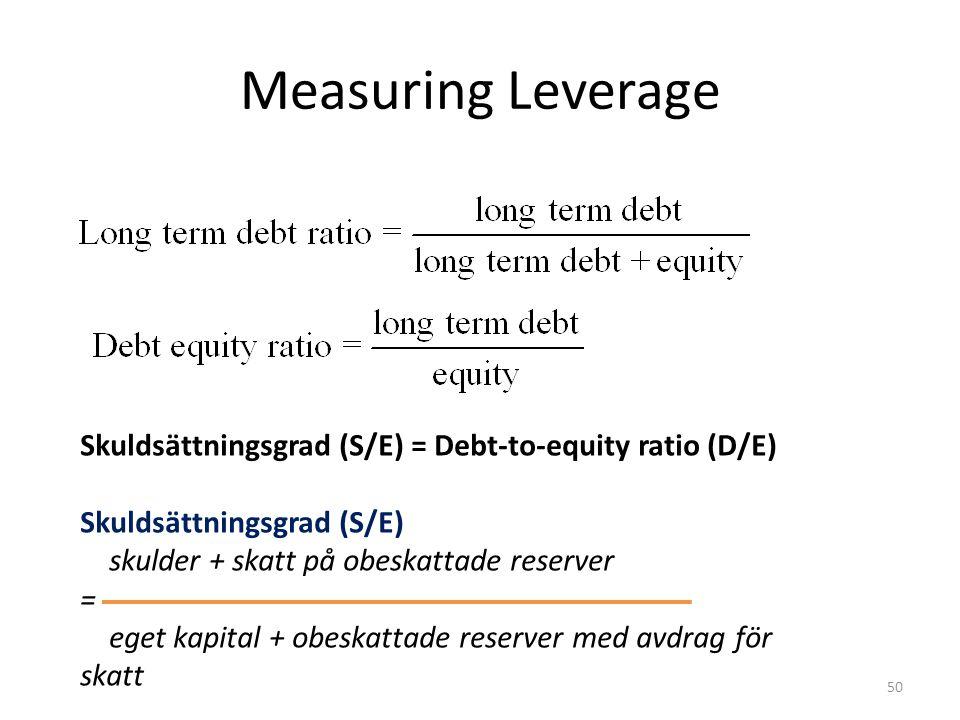 Measuring Leverage Skuldsättningsgrad (S/E) = Debt-to-equity ratio (D/E) Skuldsättningsgrad (S/E) skulder + skatt på obeskattade reserver = eget kapital + obeskattade reserver med avdrag för skatt 50