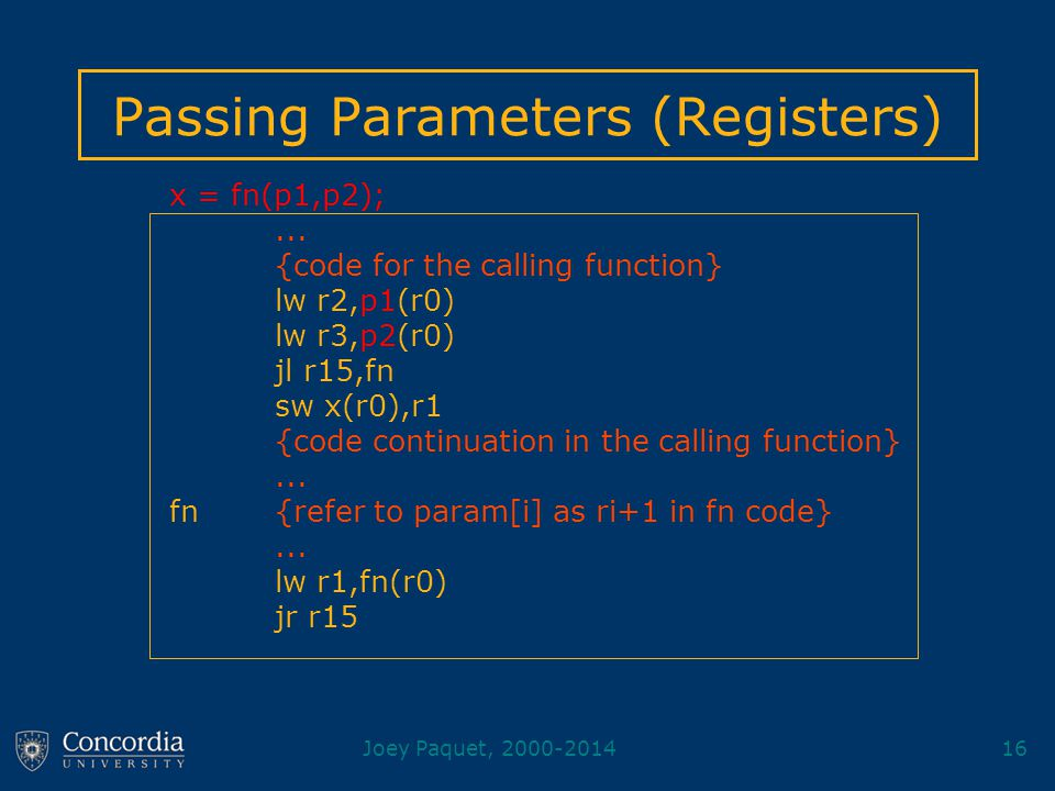 Joey Paquet, 2000-201416 Passing Parameters (Registers) x = fn(p1,p2);...