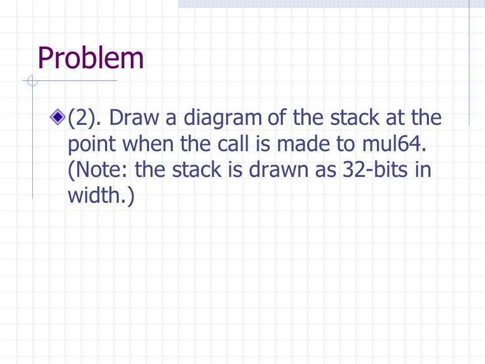Problem (2). Draw a diagram of the stack at the point when the call is made to mul64.