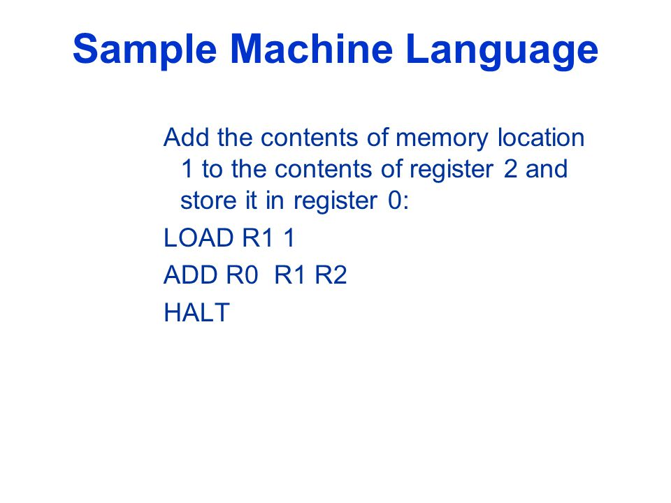 Sample Machine Language Add the contents of memory location 1 to the contents of register 2 and store it in register 0: LOAD R1 1 ADD R0 R1 R2 HALT
