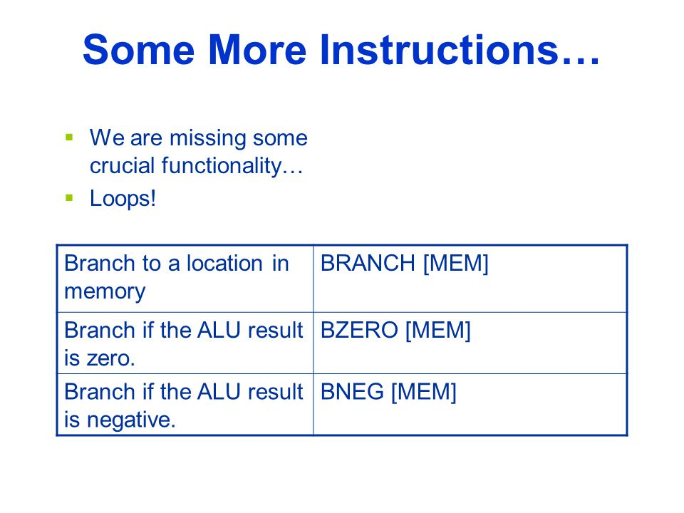 Some More Instructions…  We are missing some crucial functionality…  Loops.