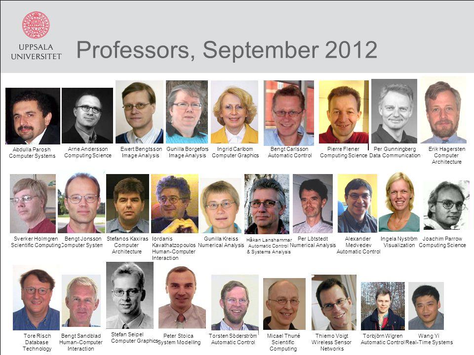 Professors, September 2012 Erik Hagersten Computer Architecture Tore Risch Database Technology Torsten Söderström Automatic Control Abdulla Parosh Com