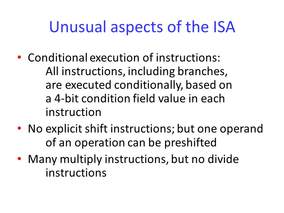 Instructions Shifting/rotation of the second source operand in arithmetic instructions: The last bit shifted (or rotated) out is written into the C flag A second rotation operation, labelled RRX (Rotate right extended), includes the C flag in the bits being rotated; only rotates by 1 bit (If the second source operand is an immediate value, a limited form of rotation is provided)