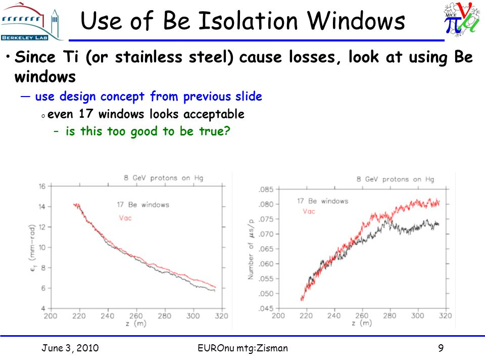 June 3, 2010EUROnu mtg:Zisman9 Use of Be Isolation Windows Since Ti (or stainless steel) cause losses, look at using Be windows —use design concept from previous slide o even 17 windows looks acceptable –is this too good to be true