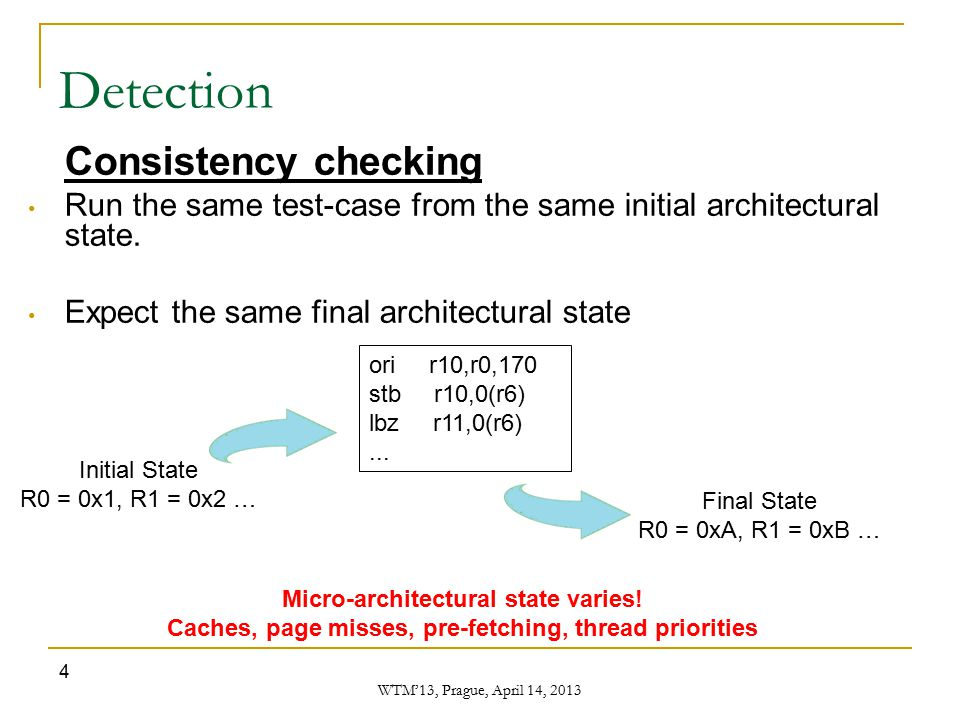 WTM'13, Prague, April 14, 2013 4 Detection Consistency checking Run the same test-case from the same initial architectural state. Expect the same fina