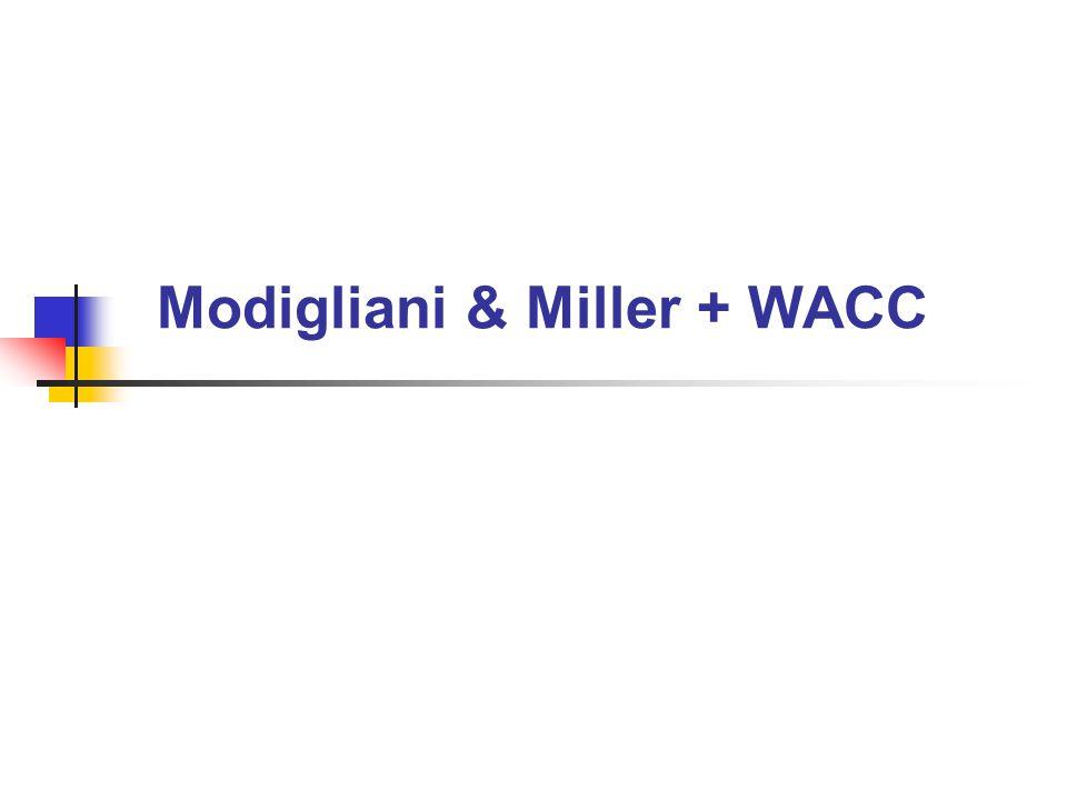 Modigliani & Miller + WACC