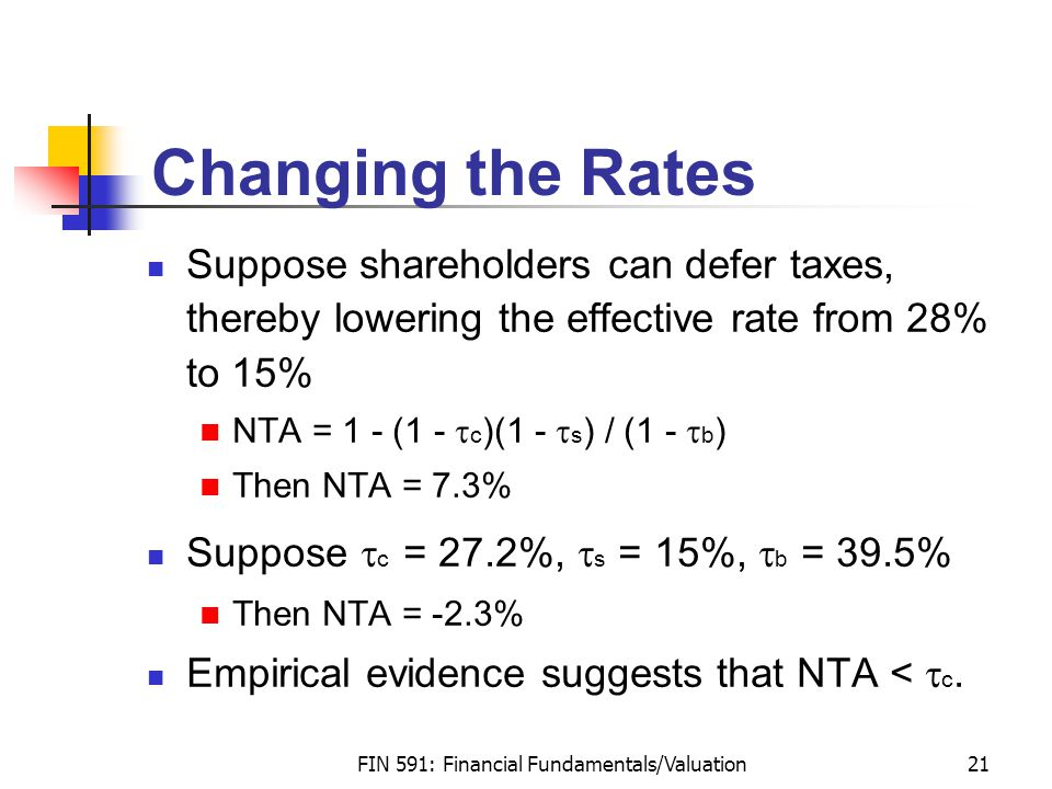 FIN 591: Financial Fundamentals/Valuation21 Changing the Rates Suppose shareholders can defer taxes, thereby lowering the effective rate from 28% to 15% NTA = 1 - (1 -  c )(1 -  s ) / (1 -  b ) Then NTA = 7.3% Suppose  c = 27.2%,  s = 15%,  b = 39.5% Then NTA = -2.3% Empirical evidence suggests that NTA <  c.