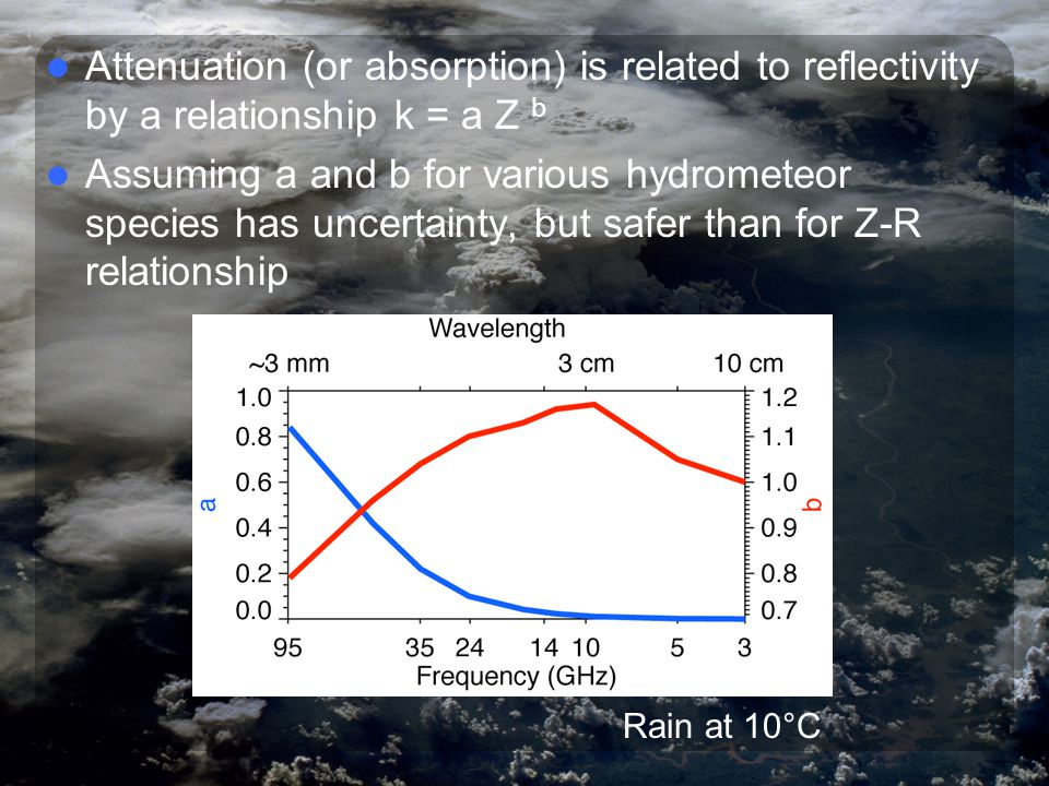 Attenuation In deriving the radar equation, we assumed that the distance between the volume and the target was filled with a non-attenuating medium; that is, there was no power loss due to absorption (attenuation) by the medium.