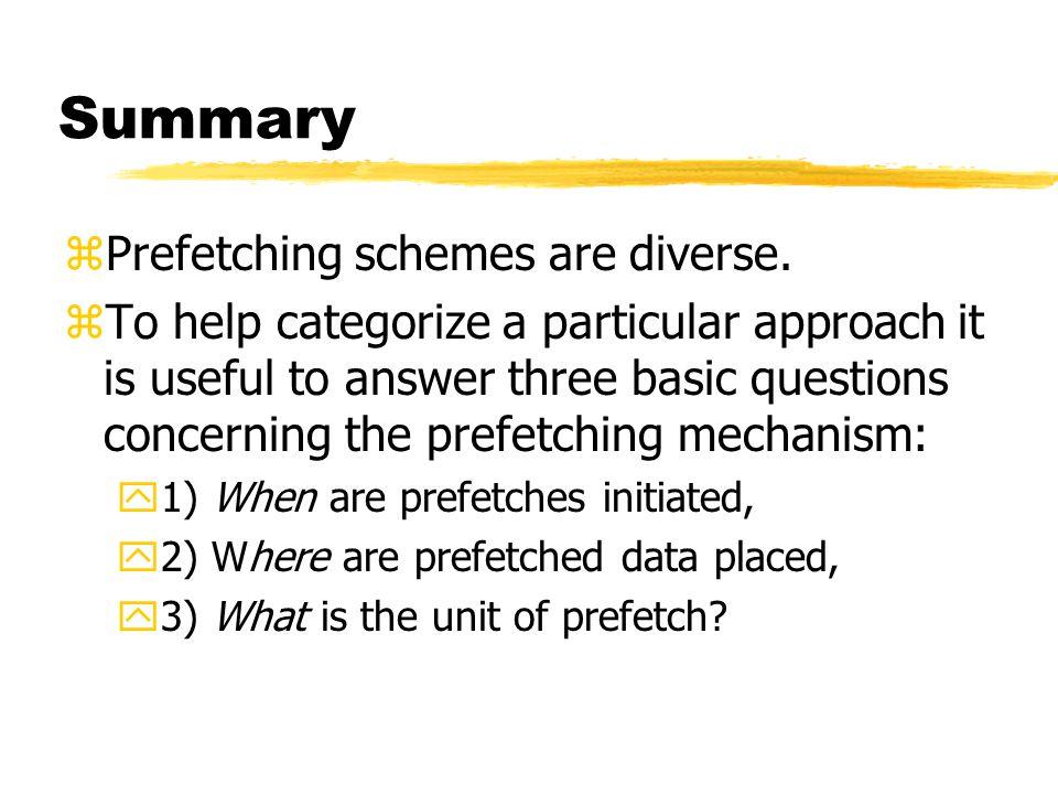 Summary zPrefetching schemes are diverse.