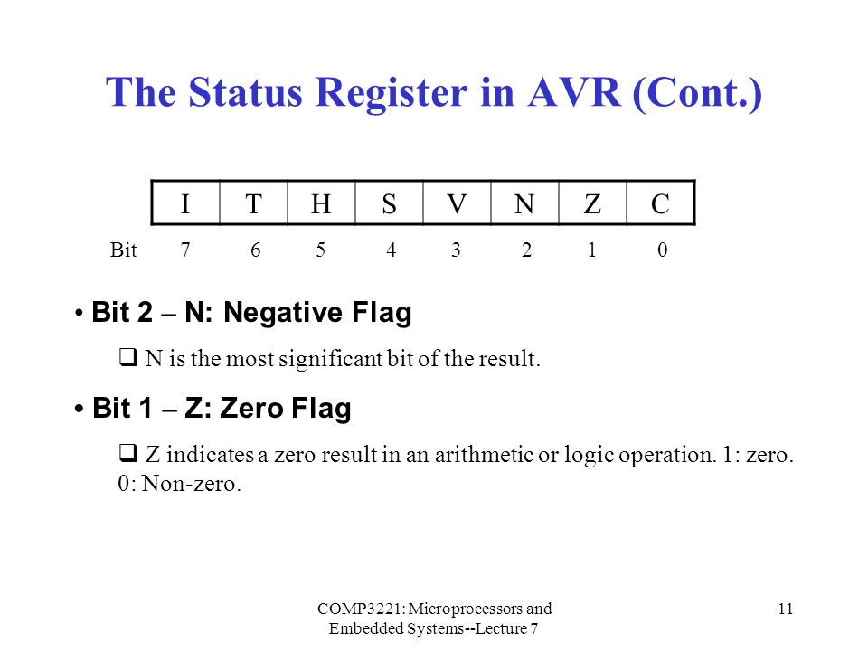 COMP3221: Microprocessors and Embedded Systems--Lecture 7 11 The Status Register in AVR (Cont.) Bit 2 – N: Negative Flag  N is the most significant b
