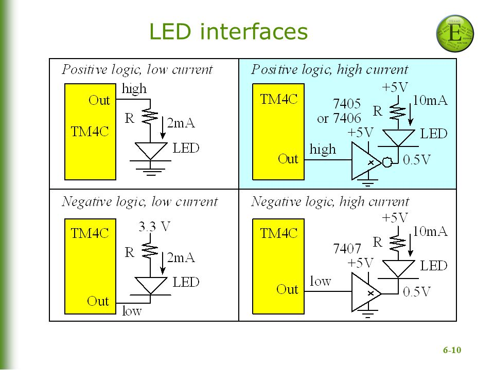 6-10 LED interfaces