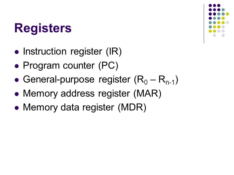 Registers Instruction register (IR) Program counter (PC) General-purpose register (R 0 – R n-1 ) Memory address register (MAR) Memory data register (MDR)