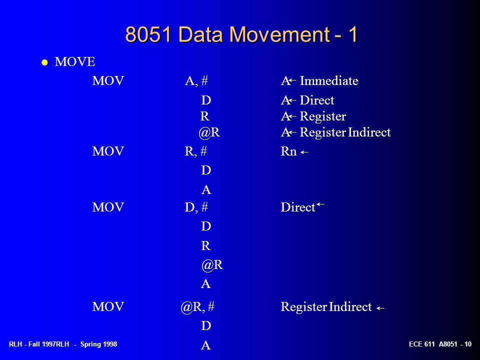 RLH - Fall 1997RLH - Spring 1998ECE 611 A8051 - 10 8051 Data Movement - 1 MOVR, #Rn D A l MOVE MOVA, #A Immediate D A Direct RA Register @RA Register