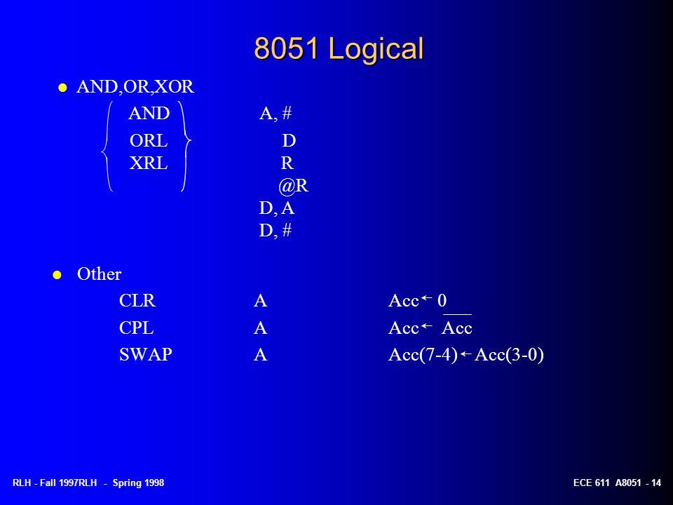 RLH - Fall 1997RLH - Spring 1998ECE 611 A8051 - 14 8051 Logical l Other CLRAAcc 0 CPL AAcc Acc SWAPAAcc(7-4) Acc(3-0) l AND,OR,XOR ANDA, # ORL D XRL R