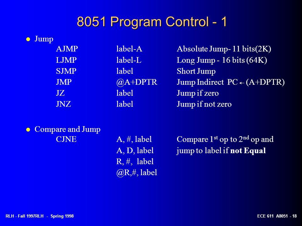 RLH - Fall 1997RLH - Spring 1998ECE 611 A8051 - 18 8051 Program Control - 1 l Jump AJMPlabel-AAbsolute Jump- 11 bits(2K) LJMPlabel-L Long Jump - 16 bi