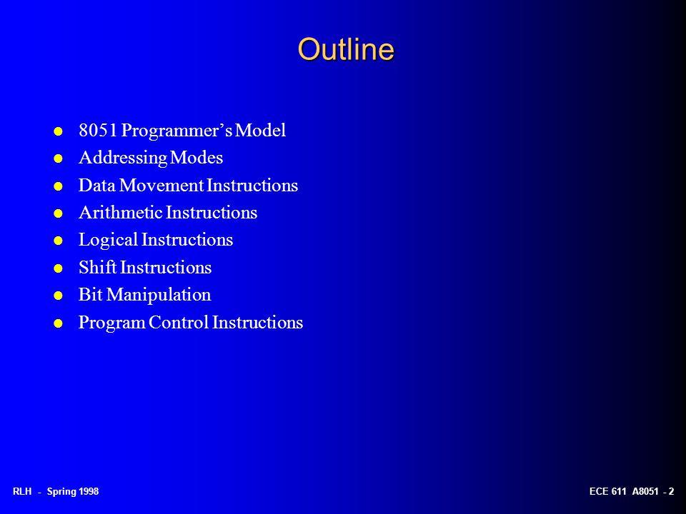 RLH - Spring 1998ECE 611 A8051 - 2 Outline l 8051 Programmer's Model l Addressing Modes l Data Movement Instructions l Arithmetic Instructions l Logic