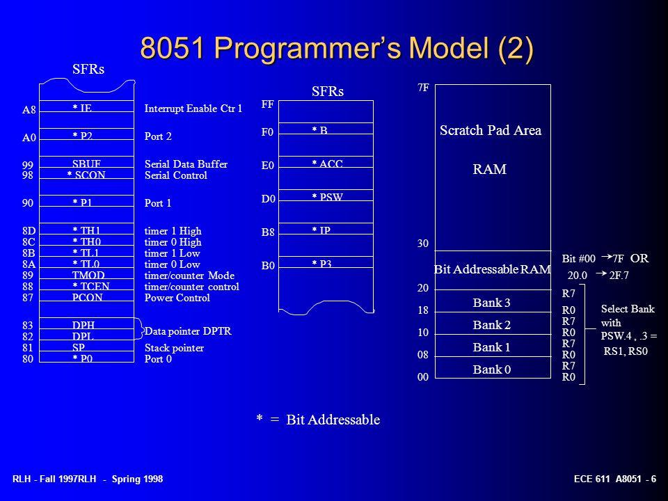 RLH - Fall 1997RLH - Spring 1998ECE 611 A8051 - 6 8051 Programmer's Model (2) Port 0 Stack pointer Data pointer DPTR Power Control timer/counter contr