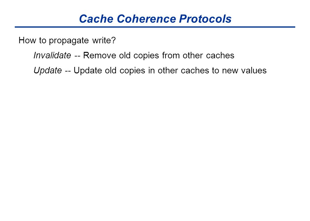 Cache Coherence Protocols How to propagate write.