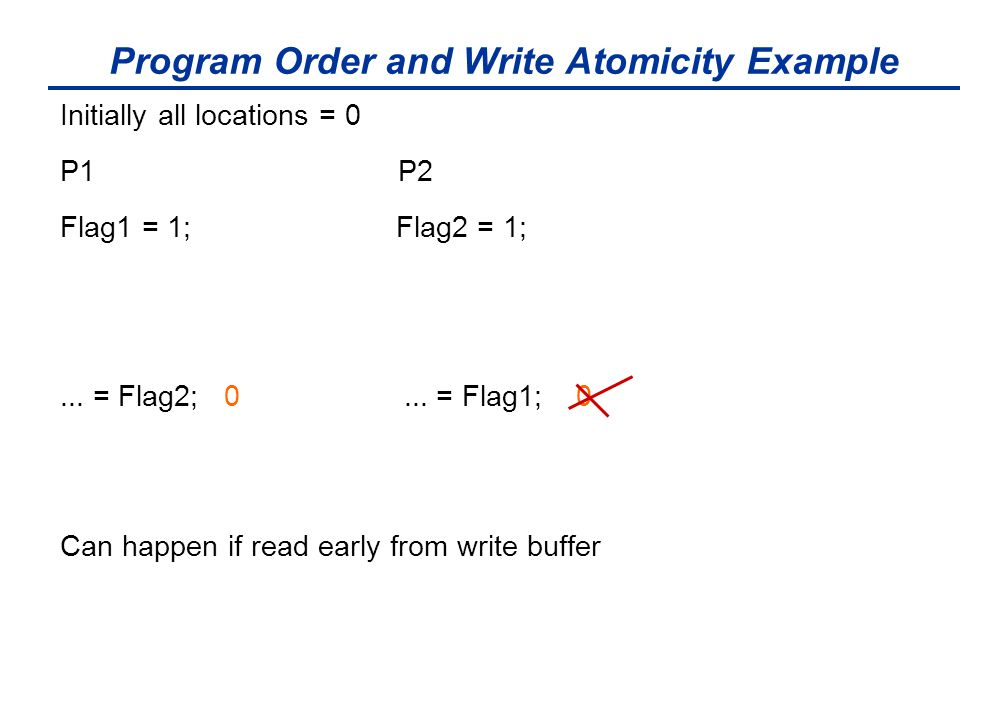 Program Order and Write Atomicity Example Initially all locations = 0 P1 P2 Flag1 = 1; Flag2 = 1;... = Flag2; 0... = Flag1; 0 Can happen if read early