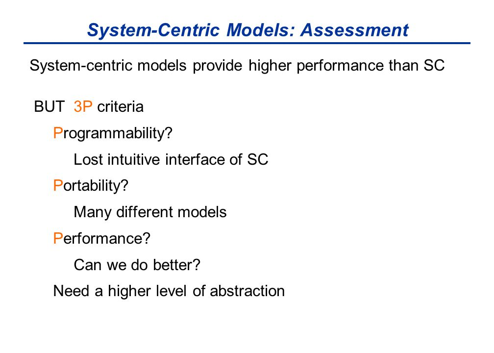 System-Centric Models: Assessment System-centric models provide higher performance than SC BUT 3P criteria Programmability? Lost intuitive interface o