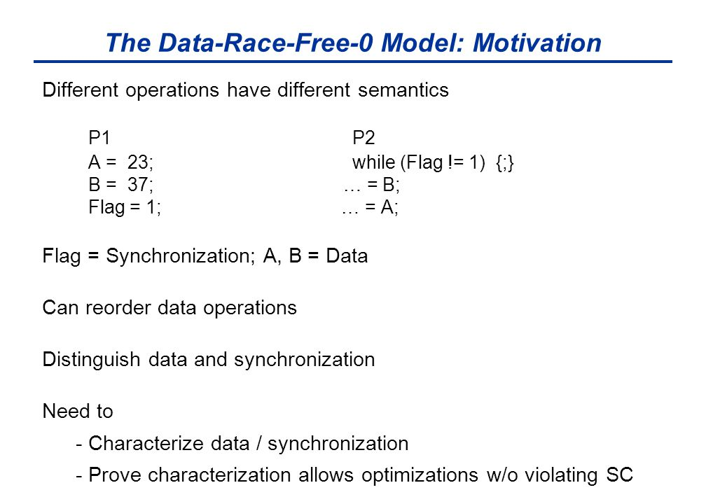 The Data-Race-Free-0 Model: Motivation Different operations have different semantics P1 P2 A = 23; while (Flag != 1) {;} B = 37; … = B; Flag = 1; … =