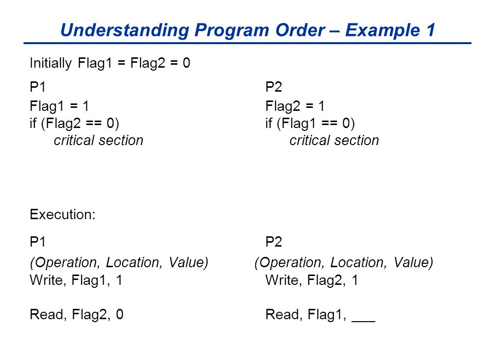 Understanding Program Order – Example 1 Initially Flag1 = Flag2 = 0 P1 P2 Flag1 = 1 Flag2 = 1 if (Flag2 == 0) if (Flag1 == 0) critical section critical section Execution: P1 P2 (Operation, Location, Value) Write, Flag1, 1 Write, Flag2, 1 Read, Flag2, 0 Read, Flag1, ___